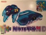 The picture of the Nintendo 64 Clear Blue Super Mario 64 (Europe) bundle