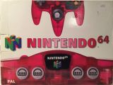 The picture of the Nintendo 64 Clear Red (Europe) bundle