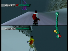In this two-player mode on the Dragon Cave race, Kensuke has taken the lead on Akari who seems ready to take a nap in the snow.  (1080 Snowboarding)