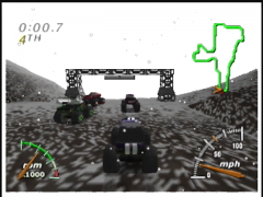 La neige s'accumule au fil des tours (Monster Truck Madness 64)