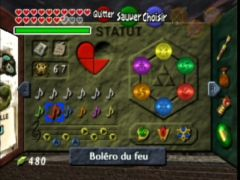 Le menu de pause. Et oui, j'ai presque tout fini ^^ (The Legend Of Zelda: Ocarina Of Time)