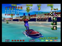 Victoire de Miles Jeter dans la course Sunny Beach de Wave Race 64 sur Nintendo 64 ! You finish first and got 7 points, great race !! (Wave Race 64)