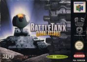 Scan of front side of box of Battletanx: Global Assault