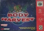 Scan of front side of box of Body Harvest