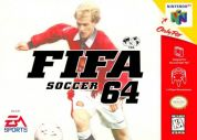 Scan of front side of box of FIFA Soccer 64