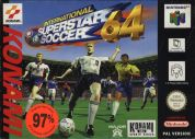 Scan of front side of box of International Superstar Soccer 64