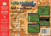 Scan of back side of box of Mia Hamm 64 Soccer