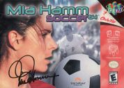 Scan of front side of box of Mia Hamm 64 Soccer