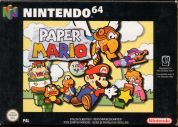 Scan of front side of box of Paper Mario
