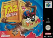 Scan of front side of box of Taz Express