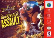 Scan of front side of box of WCW Backstage Assault