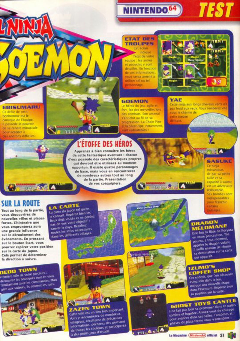 Scan Of The Review Mystical Ninja Starring Goemon Published In Magazine Le Officiel