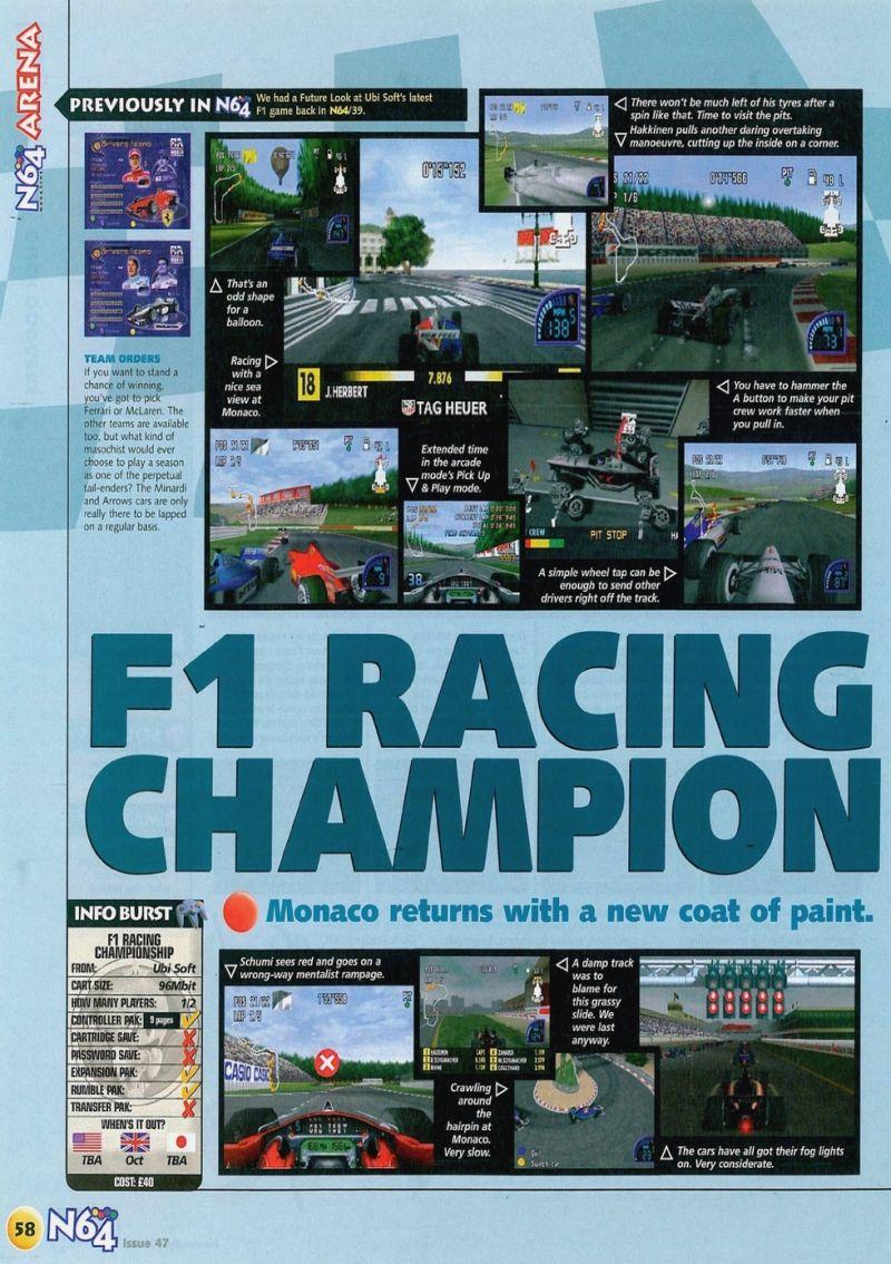 Nintendo64ever The Tests Of F1 Racing Championship Game On Nintendo 64