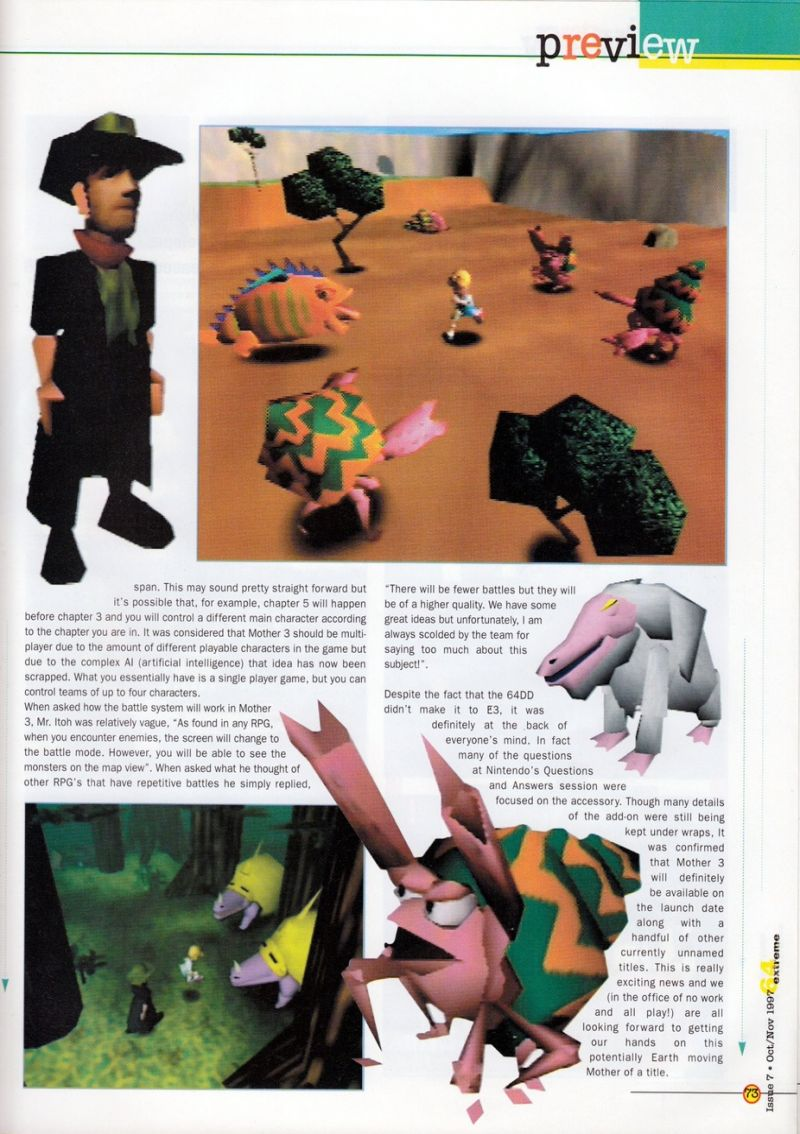 Nintendo64EVER - Previews of the game Earthbound 64 on