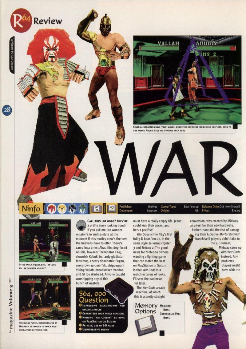 Nintendo64EVER - The tests of War Gods game on Nintendo 64