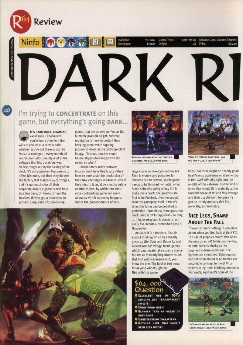 Nintendo64EVER - The tests of Dark Rift game on Nintendo 64