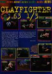 Scan of the preview of ClayFighter 63 1/3 published in the magazine Consoles News 11