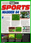 Scan of the preview of Madden 64 published in the magazine Electronic Gaming Monthly 099, page 1