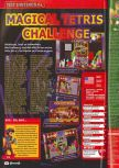 Scan of the review of Magical Tetris Challenge published in the magazine Consoles + 086
