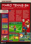 Scan of the preview of Mario Tennis published in the magazine Consoles + 101