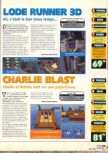 Scan of the review of Lode Runner 3D published in the magazine X64 18, page 1