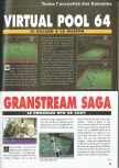 Scan of the preview of Virtual Pool 64 published in the magazine Consoles News 30