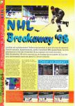 Scan of the review of NHL Breakaway 98 published in the magazine Gameplay 64 05, page 1