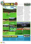 Scan of the preview of J-League Dynamite Soccer 64 published in the magazine N64 01, page 1