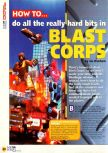 Scan of the walkthrough of Blast Corps published in the magazine N64 08, page 1