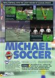 Scan of the preview of Michael Owen's World League Soccer 2000 published in the magazine N64 29, page 1