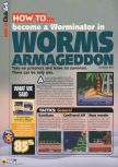 Scan of the walkthrough of Worms Armageddon published in the magazine N64 38