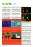 Scan of the review of Yoshi's Story published in the magazine N64 Gamer 03, page 1