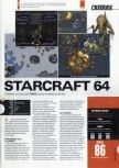 Scan of the review of Starcraft 64 published in the magazine Hyper 81