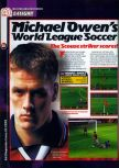 Scan of the preview of Michael Owen's World League Soccer 2000 published in the magazine 64 Magazine 25, page 1