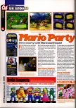 Scan of the review of Mario Party published in the magazine 64 Magazine 25, page 1