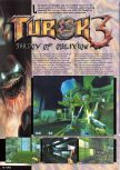 Scan of the preview of Turok 3: Shadow of Oblivion published in the magazine Nintendo Magazine 87