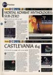 Scan of the preview of Castlevania published in the magazine 64 Magazine 03