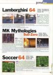 Scan of the preview of J-League Dynamite Soccer 64 published in the magazine 64 Extreme 4, page 1