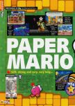 Scan of the review of Paper Mario published in the magazine N64 58, page 1
